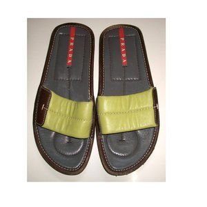 Prada Green & Brown Leather Slide-On Sandals